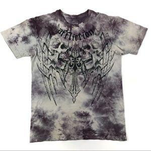 Affliction Mens Shirt Skull Tie Dye Cross S